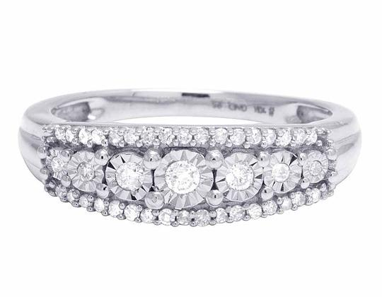 Jewelry Unlimited Ladies 10K White Gold Genuine Diamond Miracle Set Band Ring 0.25 CT Image 1