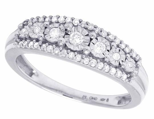 Jewelry Unlimited Ladies 10K White Gold Genuine Diamond Miracle Set Band Ring 0.25 CT Image 3