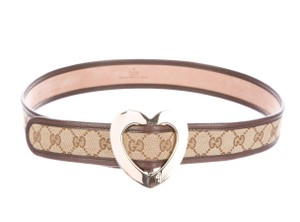 Gucci Brown, beige coated canvas Guccissima Gucci interlocking GG belt