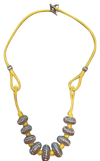 Preload https://img-static.tradesy.com/item/21005025/rebecca-minkoff-yellow-cord-and-silver-bead-necklace-0-1-540-540.jpg