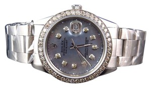 Rolex Mens Rolex 36 MM Datejust Oyster Pave Diamond Watch 3.0 Ct