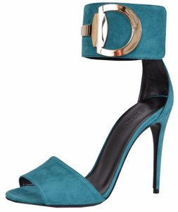 Gucci Ankle Cuff Stiletto Heels Turquoise Sandals