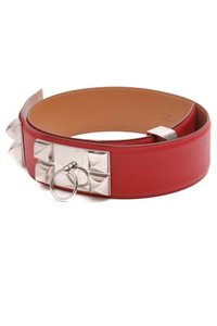 Hermès Hermes Red Epsom Leather Collier de Chien Belt