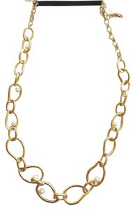 Saks Fifth Avenue Pearl and Gold Chain Necklace