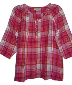 Jones New York Top Pink & White Plaid