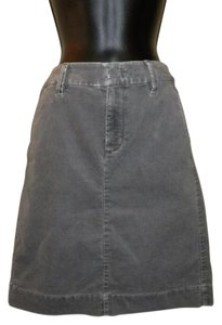 Eddie Bauer Corduroy Stretchy Slit Zipper Skirt Gray