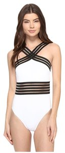 Kenneth Cole KENNETH COLE STOMPIN IN STILETTOS ISLLUSION STRIPED SWIM SUIT S WHITE