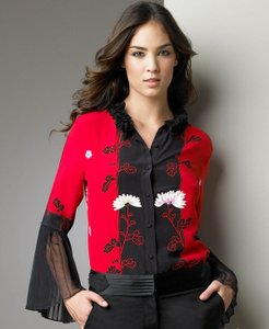 Roberto Cavalli Silk Blouse Floral Button Down Shirt Red
