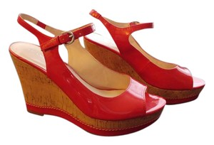 Franco Sarto Patent Leather Open Toe Ankle Strap Red Wedges
