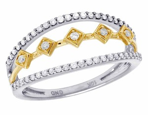 Other Ladies 10K Two Tone Gold Genuine Diamond Cocktail Ring .25Ct
