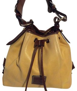 Dooney & Bourke Draw String Closure Yellow Leather Shoulder Bag