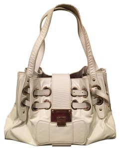 Jimmy Choo Leather Romona Patent Patent Leather Tote in White
