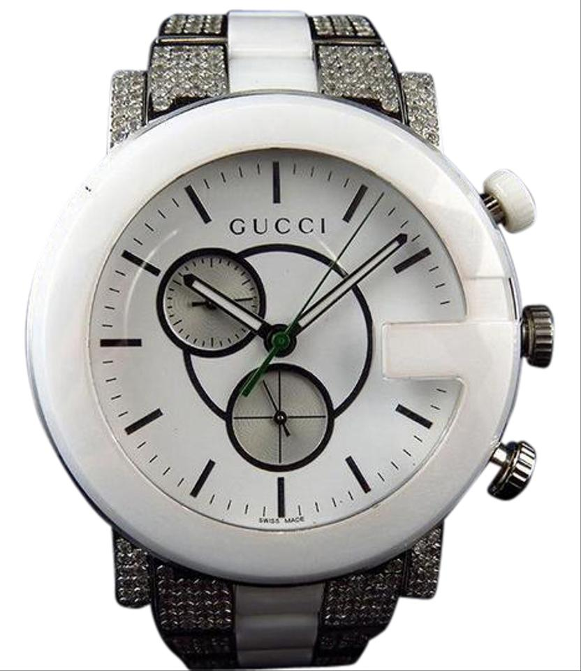 30b76713b77 Gucci Steel Finish with Diamond Ceramic White Pvd G 101 Ya101345 44 Mm  6.5ct Watch