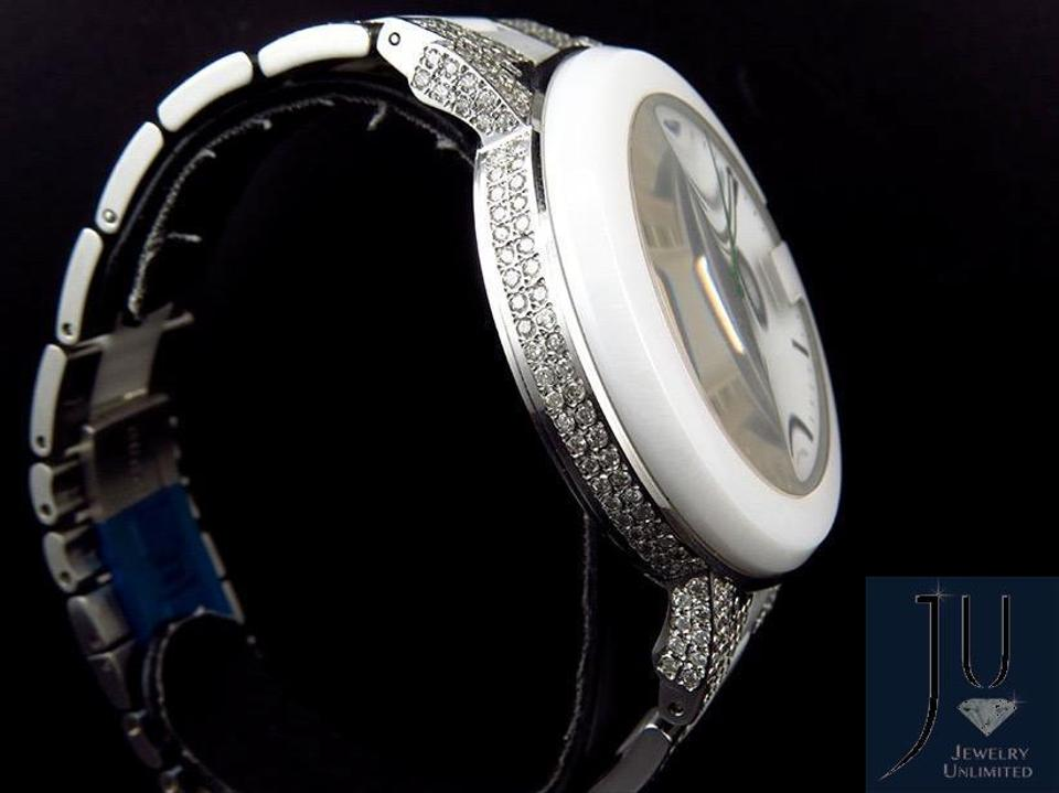 06aa78f89dd Gucci White Ceramic PVD G 101 Gucci YA101345 44 MM Diamond Watch 6.5Ct  Image 3. 1234