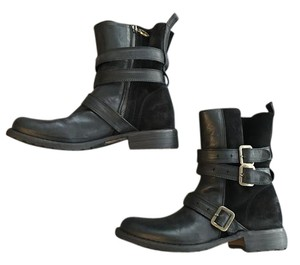 Fiorentini + Baker Leather Italian Buckles Black Boots