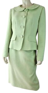 Talbots Talbots Skirt Blazer Suit 10 Lime Poly Textured Retro Shorty Easter