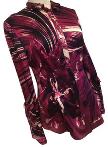 Roberto Cavalli Blouse Longsleeve Silk Button Down Shirt Red Multi