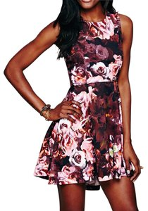 Free People short dress Pink Fit And Flare Shakuhachi For Fp Floral Printed Swing Flower Bomb Flip on Tradesy