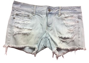 American Eagle Outfitters Light Wash Distressed Mini/Short Shorts Blue