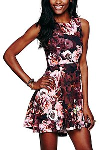 Free People short dress Pink Fp New Floral Printed Fit And Flare Mini Swingy Shakuhachi Bohemian Cocktail on Tradesy