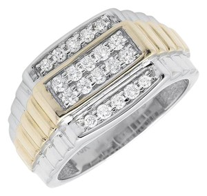 Other 10K Two-Tone Gold Four Rows Diamond Step Shank Wedding Band Ring 0.50c