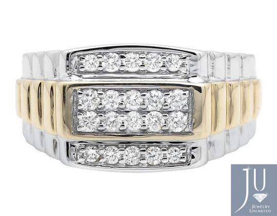 Other 10K Two-Tone Gold Four Rows Diamond Step Shank Wedding Band Ring 0.50c Image 1