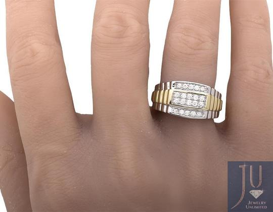 Other 10K Two-Tone Gold Four Rows Diamond Step Shank Wedding Band Ring 0.50c Image 2