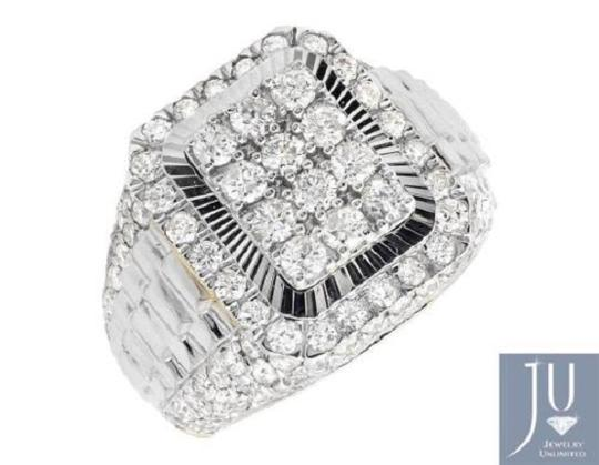 Other Men's 10K Two Tone Gold Step Wide Diamond Pinky Ring 4.0ct. Image 3