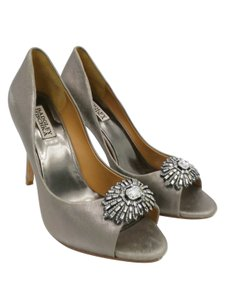 Badgley Mischka Straooy Sandals Wedding Guest Heels Wedding Silver Pumps