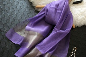 Purple/Gold Silk Blend Scarf Wrap Shawl Free Shipping Modest Bridesmaid/Mob Dress Size OS (one size)