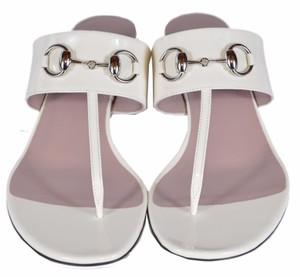 Gucci Patent Leather Off White Sandals