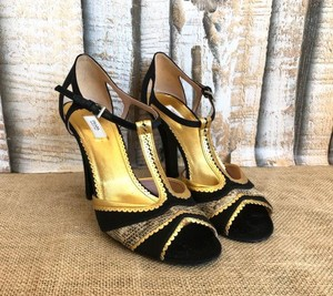 Prada Satin Gold Black Pumps