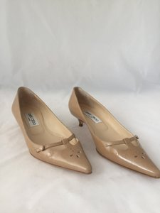 Jimmy Choo Patent Leather Kitten Heel Nude Pumps