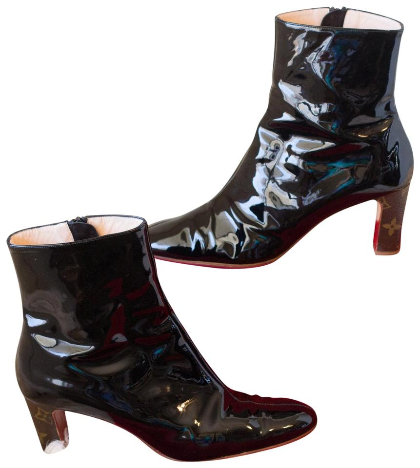 328b322555b0 Christian Louboutin Black Louis Vuitton Patent Leather Ankle Boots ...
