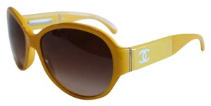 Chanel Yellow Sunglasses 1350 White CC 58mm