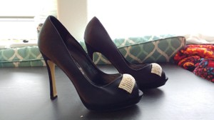 Audrey Brooke Peep Toe Satin Leather Sole Jeweled Detail Black Formal