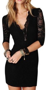 Free People Long Sleeve Mini Clothing Fp Lace Fitted Bodycon Scalloped Cocktail Dress