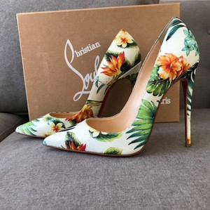 Christian Louboutin So Kate So Kate Louboutin Size 38 White Floral Multi-Color Hawaii Pumps