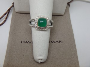 David Yurman Petite Albion Ring with Green Onyx and Diamonds size 7 w/pouch