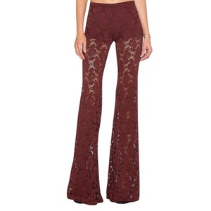 Nightcap Clothing Lace Bell Wallflower Long Stretchy Wine Flare Pants Red