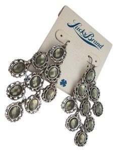 Lucky Brand New! Lucky Brand Metallic Green Faceted Glass Chandelier Earrings 'Beachwood Canyon'