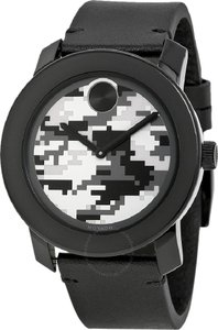 Movado NWT Bold Camouflage Dial Black Rustic Leather Watch 3600300