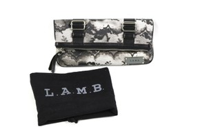 L.A.M.B. Lace Print Leather Black, white, Grey Clutch