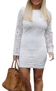 Nightcap short dress White Bell Long Sleeve Clothing Lace Bodycon Chic Cocktail Fitted Stretchy Mini Boho on Tradesy
