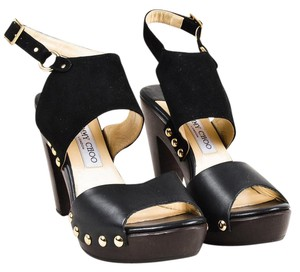 Jimmy Choo Leather Suede Classic Gold Hardware Open Toe Black Sandals