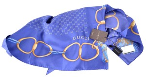 Gucci NEW GUCCI 244892 BLUE GG GUCCISSIMA HORSEBIT SILK TWILL SQUARE SCARF