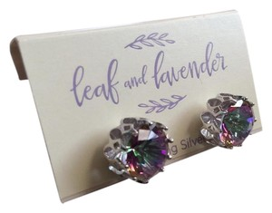 Leaf and Lavender Sterling Silver Holographic Studs