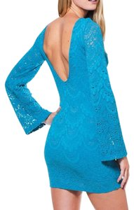 Nightcap short dress Blue Bell Long Sleeve Clothing Lace Bodycon Chic Cocktail Fitted Stretchy Mini Boho on Tradesy