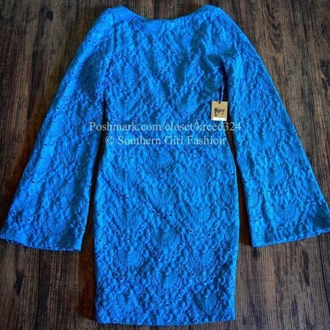 Nightcap short dress Blue Bell Long Sleeve Clothing Lace Bodycon Chic Cocktail Fitted Stretchy Mini Boho on Tradesy Image 4