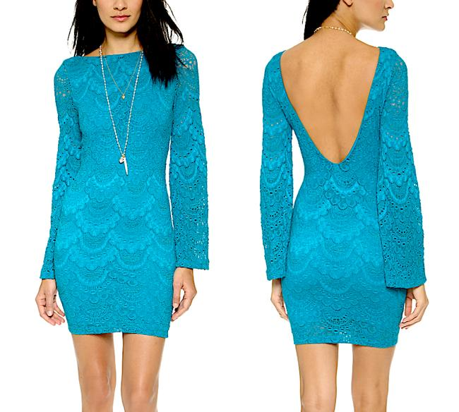 Nightcap short dress Blue Bell Long Sleeve Clothing Lace Bodycon Chic Cocktail Fitted Stretchy Mini Boho on Tradesy Image 1